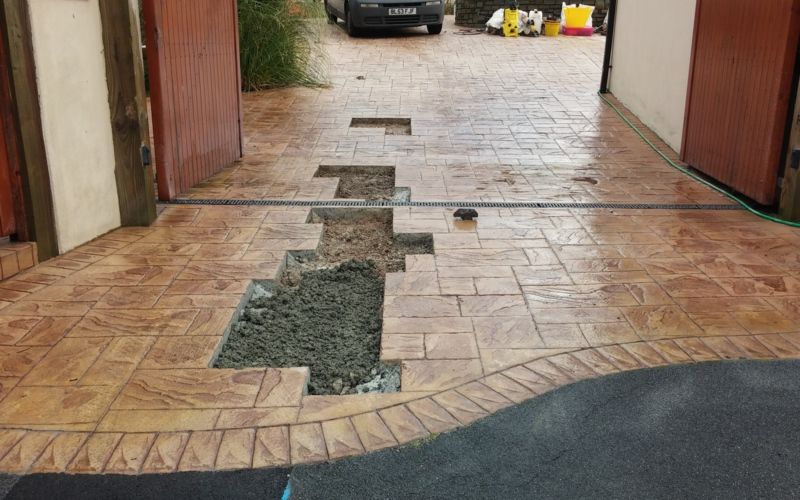 pattern imprinted concrete reseals and repairs 30 years experience